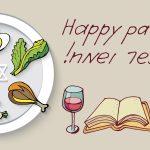 Happy Passover with Seder plate, wine, matzah, Haggadah
